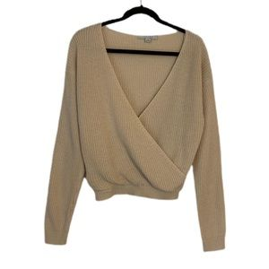Favlux Deep V Long Sleeve Crossover Sweater